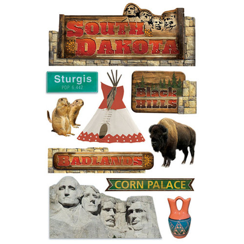 Paper House Productions - South Dakota Collection - 3 Dimensional Cardstock Stickers with Glitter and Jewel Accents - South Dakota