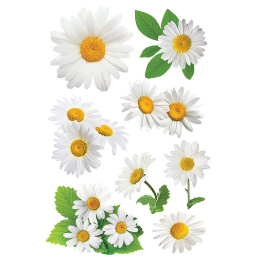 Paper House Productions - Garden Collection - 3 Dimensional Cardstock Stickers with Glitter Accents - Oxeye Daisy