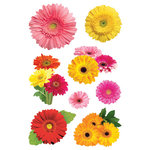 Paper House Productions - Garden Collection - 3 Dimensional Cardstock Stickers with Glitter and Jewel Accents - Gerbera Daisies