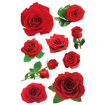 Paper House Productions - 3 Dimensional Cardstock Stickers with Glitter and Jewel Accents - Roses