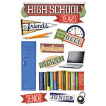 Paper House Productions - 3 Dimensional Cardstock Stickers with Glitter and Jewel Accents - High School