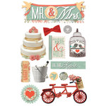 Paper House Productions - 3 Dimensional Cardstock Stickers with Foil Glitter Glossy and Jewel Accents - Mr. and Mrs.