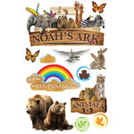 Paper House Productions - 3 Dimensional Cardstock Stickers with Glitter and Glossy Accents - Noah's Ark