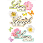 Paper House Productions - 3 Dimensional Cardstock Stickers with Glitter and Jewel Accents - Live Well