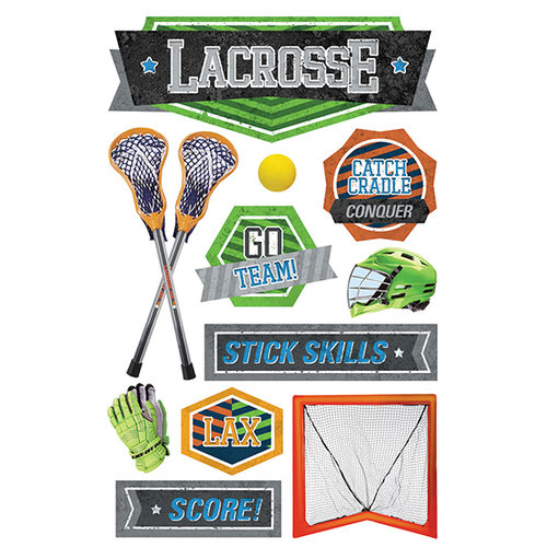 Paper House Productions - 3 Dimensional Stickers with Foil and Netting Accents- Lacrosse