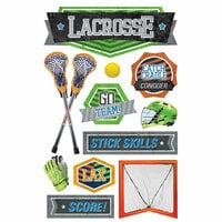 Paper House Productions - 3 Dimensional Stickers with Foil and Netting Accents - Lacrosse