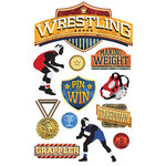 Paper House Productions - 3 Dimensional Stickers with Foil Accents- Wrestling