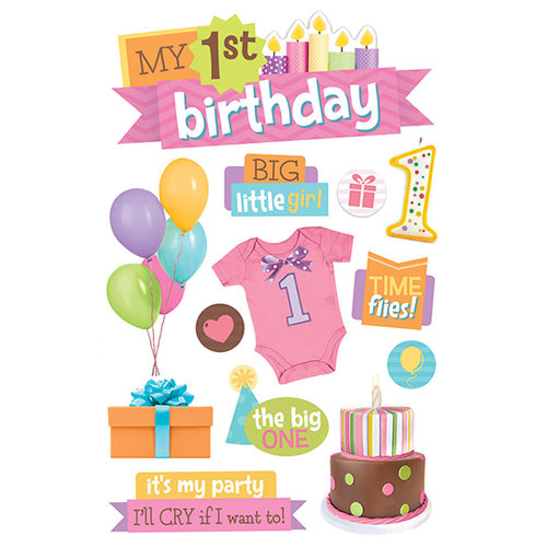 Paper House Productions - 3 Dimensional Stickers with Glitter Accents?- 1st Birthday - Girl