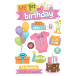 Paper House Productions - 3 Dimensional Stickers with Glitter Accents- 1st Birthday - Girl