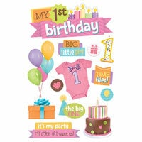 Paper House Productions - 3 Dimensional Stickers with Glitter Accents - 1st Birthday - Girl