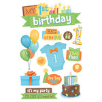 Paper House Productions - 3 Dimensional Stickers with Glitter and Epoxy Accents- 1st Birthday - Boy