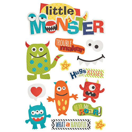 Paper House Productions - 3 Dimensional Stickers with Glitter and Epoxy Accents- Little Monster