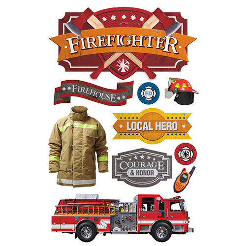 Paper House Productions - 3 Dimensional Stickers with Foil Accents- Firefighter