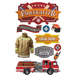 Paper House Productions - 3 Dimensional Stickers with Foil Accents - Firefighter