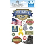Paper House Productions - 3 Dimensional Stickers with Foil Accents- Military Life