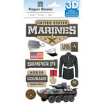 Paper House Productions - 3 Dimensional Stickers with Foil Accents- Marines