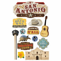 Paper House Productions - 3 Dimensional Cardstock Stickers - San Antonio