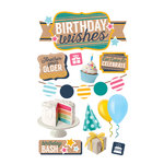 Paper House Productions - 3 Dimensional Cardstock Stickers - Birthday Wishes