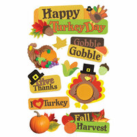 Paper House Productions - 3 Dimensional Cardstock Stickers - Happy Turkey Day