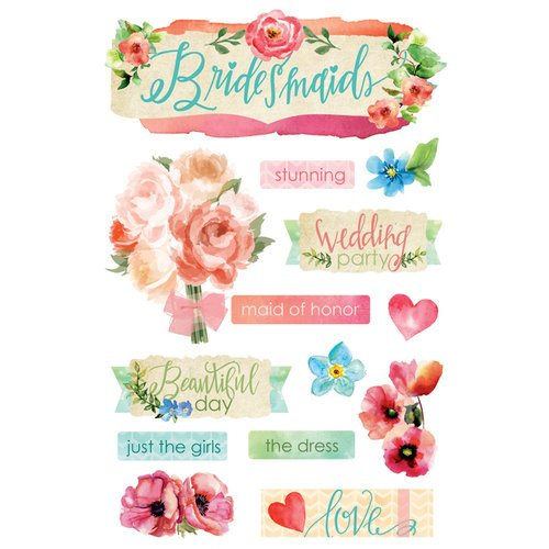 Paper House Productions - 3 Dimensional Cardstock Stickers - Bridesmaids