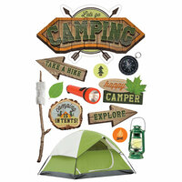 EK SUCCESS JOLEE/'S BOUTIQUE 3-D STICKERS CAMP CABINS CAMPING CAMPFIRE