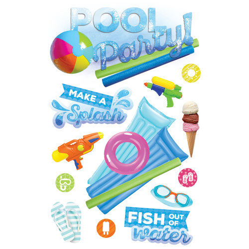 Paper House Productions - 3 Dimensional Layered Stickers - Pool Party