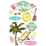 Paper House Productions - Paradise Found Collection - 3 Dimensional Cardstock Stickers - The Beach
