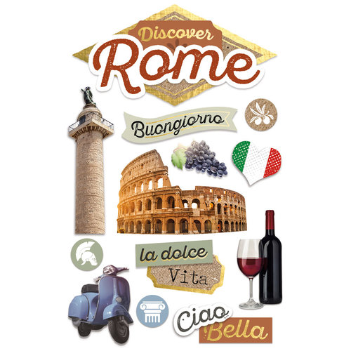 Paper House Productions - 3 Dimensional Cardstock Stickers - Discover Rome