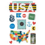Paper House Productions - Discover USA Collection - 3 Dimensional Cardstock Stickers