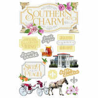 Paper House Productions - 3 Dimensional Cardstock Stickers - Southern Charm Tags
