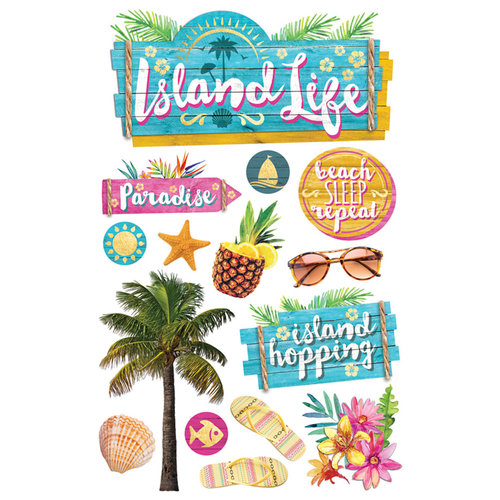 Paper House Productions - 3 Dimensional Cardstock Stickers - Island Life