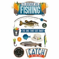 Paper House Productions - 3 Dimensional Cardstock Stickers - I'd Rather Be Fishing with Foil Accents