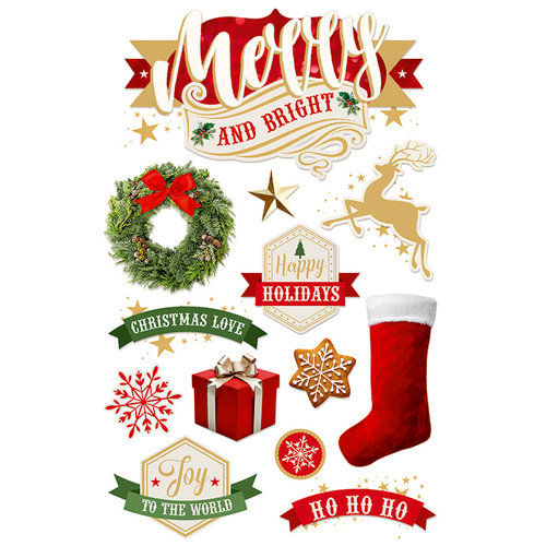 Paper House Productions - Christmas - 3 Dimensional Cardstock Stickers - Merry and Bright