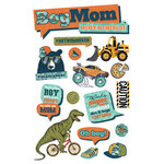 Paper House Productions - 3 Dimensional Cardstock Stickers - Boy Mom with Foil Accents