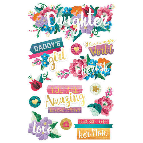 Paper House Productions - 3 Dimensional Cardstock Stickers - Daughter with Foil Accents