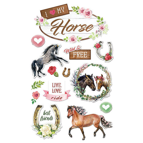 Paper House Productions - 3 Dimensional Stickers - I Love My Horse