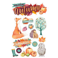 Paper House Productions - 3 Dimensional Layered Cardstock Stickers - Welcome Autumn with Foil and Glitter Accents