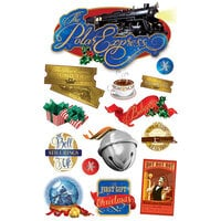 Paper House Productions - Christmas - 3 Dimensional Layered Cardstock Stickers - Polar Express with Glitter and Foil Accents