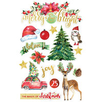 Paper House Productions - Christmas - 3 Dimensional Layered Cardstock Stickers - Merry and Bright II with Foil and Glitter Accents
