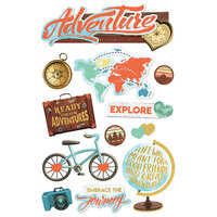 Paper House Productions - 3 Dimensional Layered Cardstock Stickers - Adventure At Heart with Foil Accents
