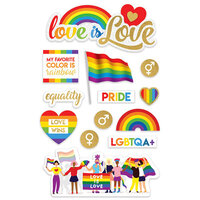Paper House Productions - 3 Dimensional Layered Cardstock Stickers - Diversity - Pride with Glitter and Foil Accents