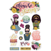 Paper House Productions - 3 Dimensional Layered Cardstock Stickers - Diversity - Be Yourself with Glitter Accents