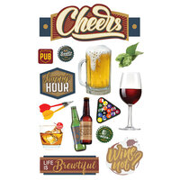 Paper House Productions - 3 Dimensional Layered Cardstock Stickers - Cheers II with Glitter and Foil Accents