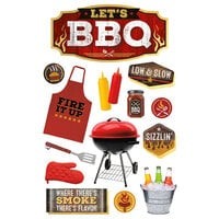 Paper House Productions - 3 Dimensional Layered Cardstock Stickers - BBQ II with Glitter Accents