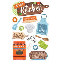 Paper House Productions - 3 Dimensional Layered Cardstock Stickers - In the Kitchen with Glitter Accents