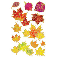 Paper House Productions - 3 Dimensional Layered Cardstock Stickers - Fall Leaves with Foil Accents