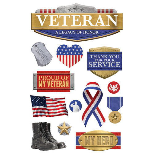 Paper House Productions - 3 Dimensional Layered Cardstock Stickers - Veteran with Foil and Glitter Accents