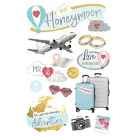 Paper House Productions - 3 Dimensional Layered Cardstock Stickers - Our Honeymoon with Foil and Glitter Accents