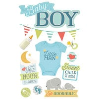 Paper House Productions - 3 Dimensional Layered Cardstock Stickers - Baby Boy with Foil and Glitter Accents
