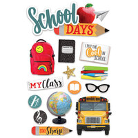 Paper House Productions - 3 Dimensional Layered Cardstock Stickers - School with Glitter Accents